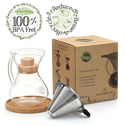 TreeBox Pour Over Kaffeebereiter Set – Mit extra dickem Borosilikatglas und papierlosem Dauerfilter für langen und aromatischen Kaffeegenuss – Ökologisch und Nachhaltig