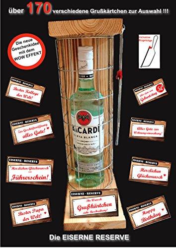 """Die """"Eiserne Rerserve"""" Das ausgefallene, originelle, lustige Bacardi Geschenk, Sie können aus 170 verschiedenen Grußkärtchen auswählen, Geburtstagsgeschenk - Männergeschenk - Frauengeschenk - Happy Birthday"""