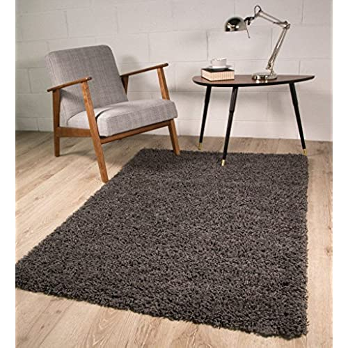 Soft Non Shed Thick Plain Easy Clean Shaggy Rugs Ontario   16 Colours And  14 Sizes Available (Grey 60x110cm)