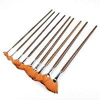 9PCS Drawing Brush,Brown Nylon Hair Aluminium Alloy Tube Fan Shape Drawing Brush Art Painting Tool