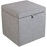 Reposapiés Sofá Taburete multifuncional   Taburete para pies Storage Box Cube Pouffe Chair Taburete Seat Wooden Square otomana con tapa y lino Cambio Shoe Stool Support Tapizado Reposapiés Seat Dressi