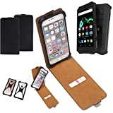 K-S-Trade Flipstyle Hülle für Archos Saphir 50X Handyhülle Schutzhülle Tasche Handytasche Case Schutz Hülle + integrierter Bumper Kameraschutz, schwarz (1x)