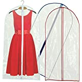 Hangerworld Synthetic 60-Inch Zipped Dress Suit Coat Covers with Mixed Trim, Pack of 3, Clear