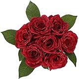 Fleurs Artificielles Ruyi Roses Rouge SOLEDI Fleurs Mélangés pour Bouquet De Mariée Mariage Salon Table Maison Jardin Décoration