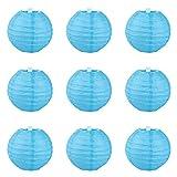 YL 9er. Papier Lampions Laternen Blau (10cm)