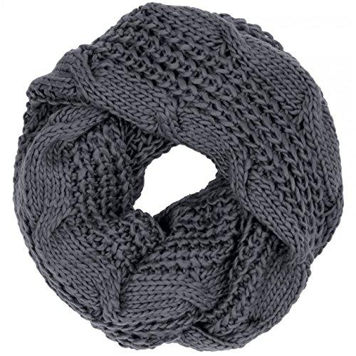 Loopschal Tuch Schal schwarz grau gestreift extra groß Schlauchschal Damen