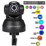 Teaio HD Überwachungskamera 720P WLAN Wireless/Wired IP/Network Pan Kamera, Smart Home mit Nachtsicht, Bewegungserkennung, Haus Monitor Haustier Baby Monitor, EU-Stecker, Schwarz, Weiß