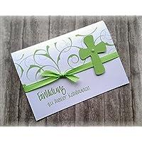 Einladung Einladungskarte Kommunion Konfirmation Firmung Taufe Kreuz christliche Symbole grün apfelgrün hellgrün kiwi