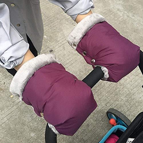 Eulan Pushchair Gloves,Baby Infant Stroller Handlebar with Mobile Phone Pocket Waterproof Windproof Cover Hand Warmer Gloves (Purple) Pocket Hand Warmers