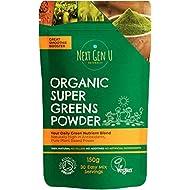 Next Gen U   Organic Super Greens Powder 150g   Vegan Green Smoothie Detox Juice Supplement   Proven Energy Booster   Over 20% Protein   Maca Matcha Wheatgrass Acai Flaxseed   Focus & Immune Function
