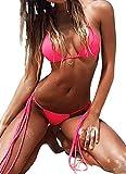 FITTOO Damen Triangel Bandeau Push up Bikini-Set Gepolstert Gebunden Bademode mit Nackenträger #Rosa L
