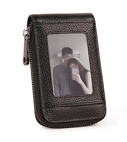 CHUANJYJ Leder-Multi-Card Case Card Wallet Einteilige Tasche männlichen Reißverschluss große Kapazität Kreditkarte Document ID einfache Karte Fall weiblich - Mikrofaser-wallet-karte