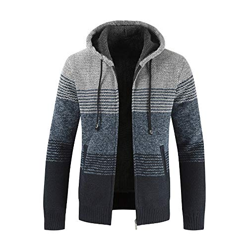 Yvelands Herren Winter Cardigan Striped Zipper Hoodie Outwear Tops Sweater Bluse Mäntel