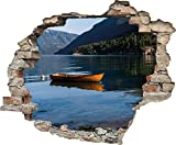 3D-Effekt Wandtattoo 'Einsames Boot' | Aufkleber | Durchbruch | selbstklebendes Wandbild | Wandsticker | Stein | Wanddurchbruch | Wandaufkleber | Tattoo, Größe:60x50 cm