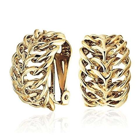 Bling Jewelry Tissé laiton plaqué or Celtic Knot Amour Clip sur Boucles d'oreille