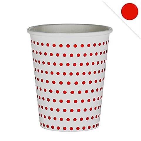 48x Pappbecher Dots EinsSein® 53x75x88mm weiß-rot Papierbecher Punkte Becher aus Pappe Partygeschirr Pappgeschirr