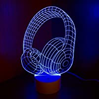 Optical Illusion 3D Lamp 7 Colour Changing Headphones by AddCore Ltd