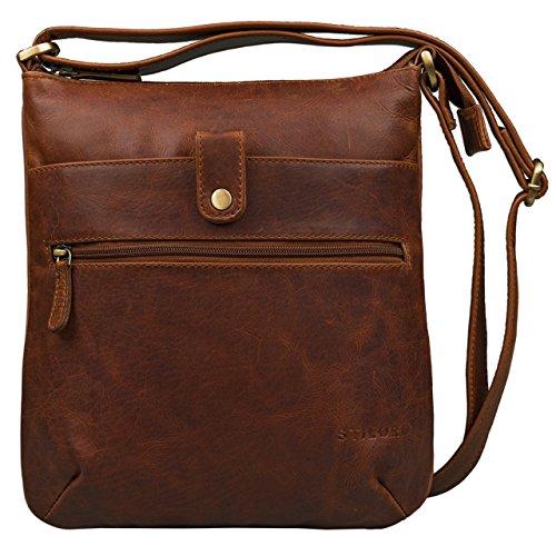 STILORD 'Lina' Elegante Vintage Damen Umhängetasche Schultertasche klein Abendtasche klassische Handtasche 10.1 Zoll Tablettasche echtes Leder, Farbe:cognac - dunkelbraun (Handtasche Leder Braune Echte)