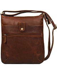0dd27607677 STILORD 'Lina' Bolso bandolera para mujeres piel pequeño bolso para tablet  10.1 pulgadas bolsa de mano de cuero auténtico. B01D9FJ1P2