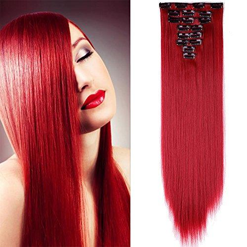 Extension clip sintetiche rosse capelli lunghi lisci 58cm 8 fasce full head straight effetto naturale
