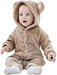 MICHLEY Unisex Baby Hooded Winter Romper Animal Flannel Pyjamas