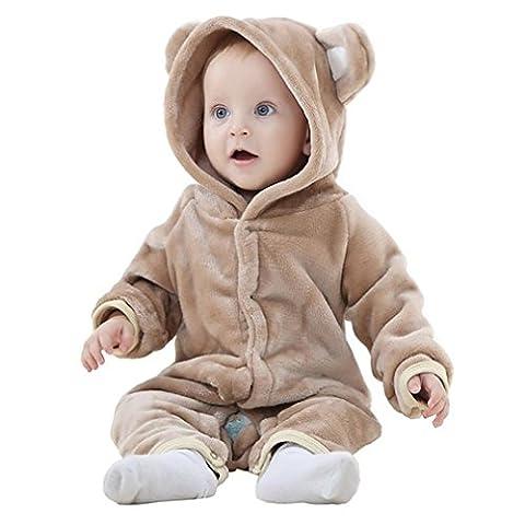 MICHLEY Baby Mädchen und Jungen Bär Stil Overall Herbst & Winter Strampler Kleidung Brown-70 (Bären-kostüm Für Baby)