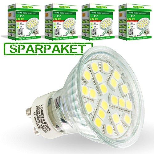 LumenStar® 4er Pack LED GU10 Lampe 4,5 Watt - 330lm, 2700K extra warmweiß, 120° Abstrahlwinkel, ersetzt 35W - Bergamo