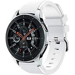 46mm Correa de Silicona de Sarga, Correa de Banda de Repuesto de Silicona Suave para el Reloj de Samsung Galaxy (Blanco)