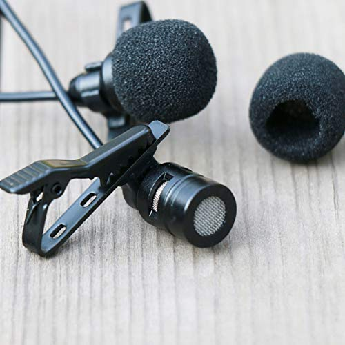 WEIWEITOE AriMic Dual-Head Video-Interview-Aufnahmemikrofon Professionelles Lavalier-Revers-Mikrofon für DSLR-Telefone, schwarz, 1,5 m -