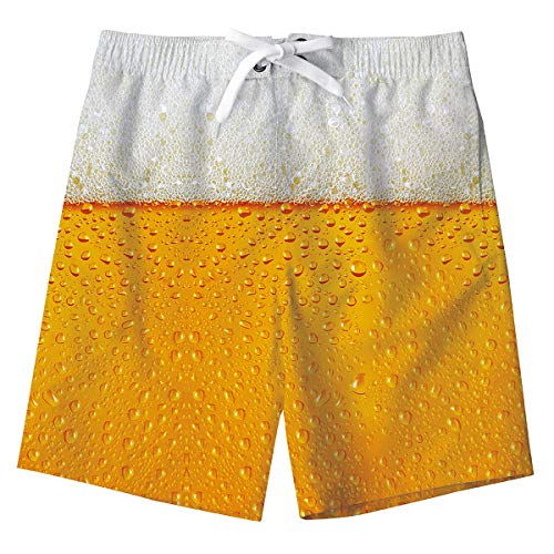 Jungs Sweatpants Shorts Süß 3D Bier Lustige Sommer Strand Shorts Hosen Gelb Schwimmen Badeshorts Kinder Badeanzug mit Taschen 8-10 Jahre (Kinder Mesh Shorts Gelb)
