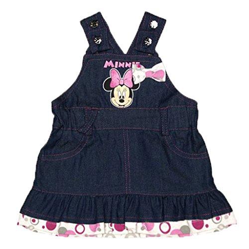 Mädchen-Kleid Disney Minnie Mouse, Jeans Latz-Kleid in GRÖSSE 62, 68, 74, 80, 86, Latz-Rock mit Trägern, Sommer-Kleid ÄRMELLOS, Freizeit-Kleid Baumwolle mit süßen Details in rosa Size 68