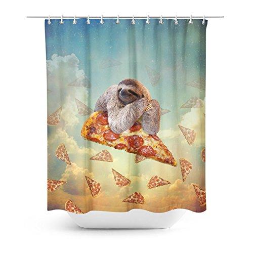 Vorhang für die Dusche, Motiv: Faultier & Pizza thumbnail