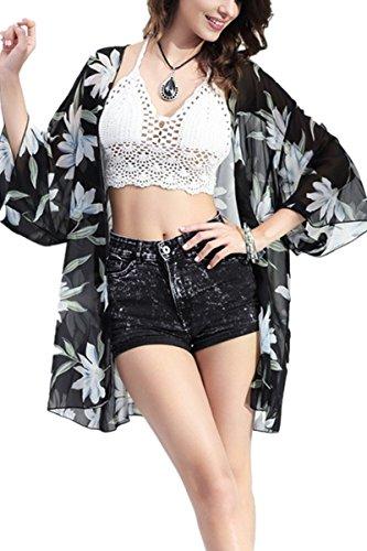 STJD Damen Bademode Bikini Badeanzug Licht Blumen Print Chiffon Kimono Cover up Schwarz