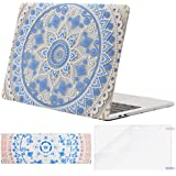 Mosiso MacBook Pro 13 Case 2017 2016 Release A1706/A1708, Plastic Pattern Hard Case Shell with Keyboard Cover with Screen Protector for Newest MacBook Pro 13 Inch, Pink Blue Mandala