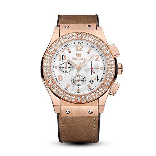 gorben Megir mujeres hombres cristal de oro rosa Dial Cronógrafo Automático Fecha Deportes reloj de cuarzo con caja