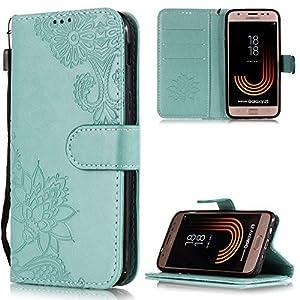 Handyhülle für Samsung Galaxy J3 2017 Tasche PU Leder Flip Case Brieftasche,Samsung Galaxy J3 2017 Hülle,FNBK Geprägtes Spitzen Blumen Holster Leder Flip Wallet Cover