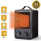 Termoventilatore Elettrico portatile stufetta, 1800W Fast Heater Stufa elettrica ceramico basso consumo, Radiatore ventilatore termostato regolabile, Riscaldatore Termoventilatori silenzioso, Nero