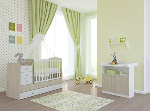 Polini Kids Babyzimmer Set mit Babybett Kinderbett Juniorbett Simple 1100 und Wickelkommode inclusive Matratze in ulme weiß