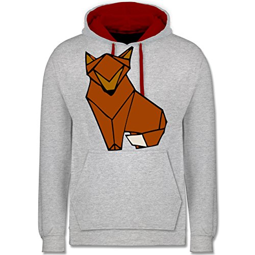 Eulen, Füchse & Co. - Origami Fuchs - Kontrast Hoodie Grau Meliert/Rot