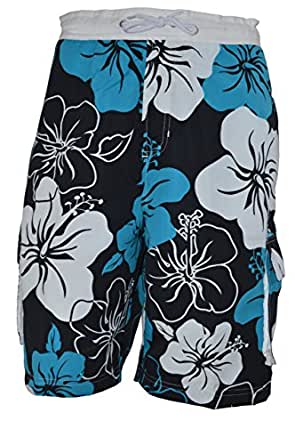 OCTAVE® Mens Hawaiian Swim Shorts With 5 Pockets [Size XXL, Colour Blue Mix]