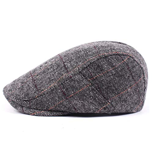 Wildleder Newsboy Cap Hat (EERTX - ♛♛ Barett Cap Herren Schiebermütze Gatsby Schirmmütze Newsboy Flat Cap Baskenmütze 1920 Stil Gatsby Kostüm Accessoires(Schwarzer Grauer))