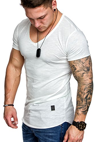 Amaci&Sons Oversize Herren Vintage T-Shirt V-Neck Basic V-Ausschnitt Shirt 6006 Weiß L (Weiß-vintage-t-shirt Herren)