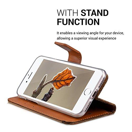 kwmobile Hülle für Apple iPhone 7 / 8 - Wallet Case Handy Schutzhülle Kunstleder - Handycover Klapphülle mit Kartenfach und Ständer Rosegold Aztec Blume Dunkelbraun