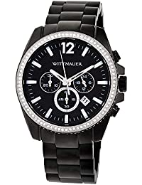 Wittnauer WN3028 Mens Lucas Chronograph Black Dial Black IP Steel Bracelet Crystal Accented Watch