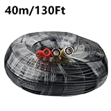 PECHAM 40M / 131.2ft desviación (1~2)ft Cable de vídeo de alimentación para la cámara del CCTV Sistema de Seguridad DVR tener BNC macho y de alimentación conectores (Negro)