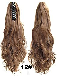 Beauty Wig World Mothers Day 20inch 50cm 100g Long Wave Curly Woman Claw Clip Ponytail Clip on/in Hair Extensions - 12 Light Golden Brown