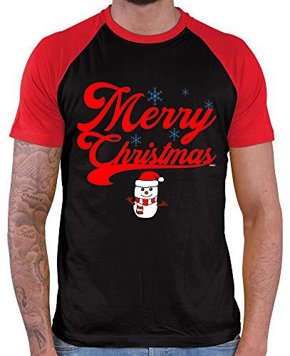 HARIZ  Herren Baseball Shirt Weihnachten Merry Christmas Stadt Weihnachten Weihnachts Geschenke Liebe Plus Geschenkkarte Black/Red XXL