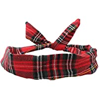 Wire Headband Retro Wired Head Scarf Rockabilly Hair Band Wrap Vintage Tartan Red by Cherry on Top