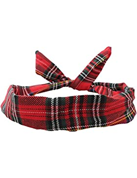 Wire Headband Retro Wired Head Scarf Rockabilly Wire Hair Band Head Wrap Vintage Tartan Red by Cherry-on-Top