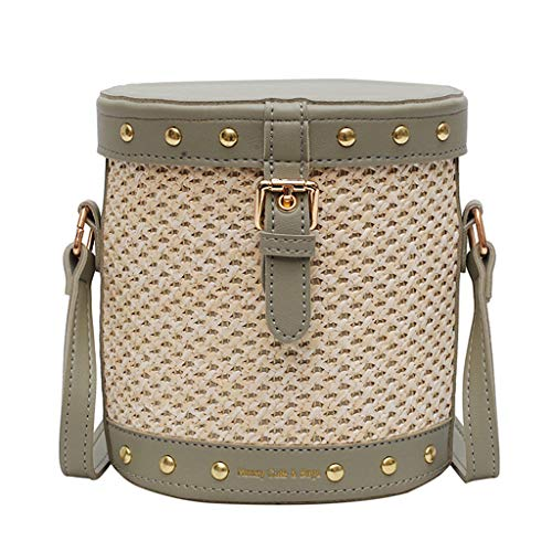 Mitlfuny handbemalte Ledertasche, Schultertasche, Geschenk, Handgefertigte Tasche,Frauen-Strand-Niet-dekorative Straw Bucket Bag Sackleinen Square Bag Messenger Bag